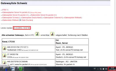 Letztes Update der Gatewayliste Schweiz am 23.12.2016 um 14:57 Uhr obwohl bereits 16:18 Uhr ist ?