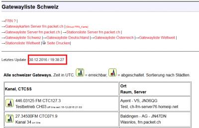 Letztes Update der Gatewayliste Schweiz am 30.12.2016 um 19:38 Uhr obwohl bereits 22:12 Uhr ist ?