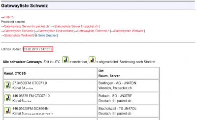 Letztes Update der Gatewayliste Schweiz am 01.02.2017 um 14:16 Uhr obwohl bereits der 02.02.2017 um 08:30 Uhr ist ?