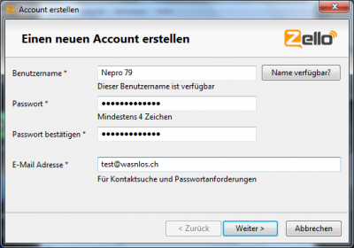Zello neuen Account anlegen