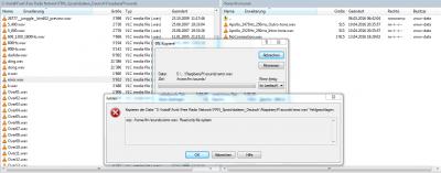 Versuch die error.wav per SCP auf den Raspberry zu laden scheitert