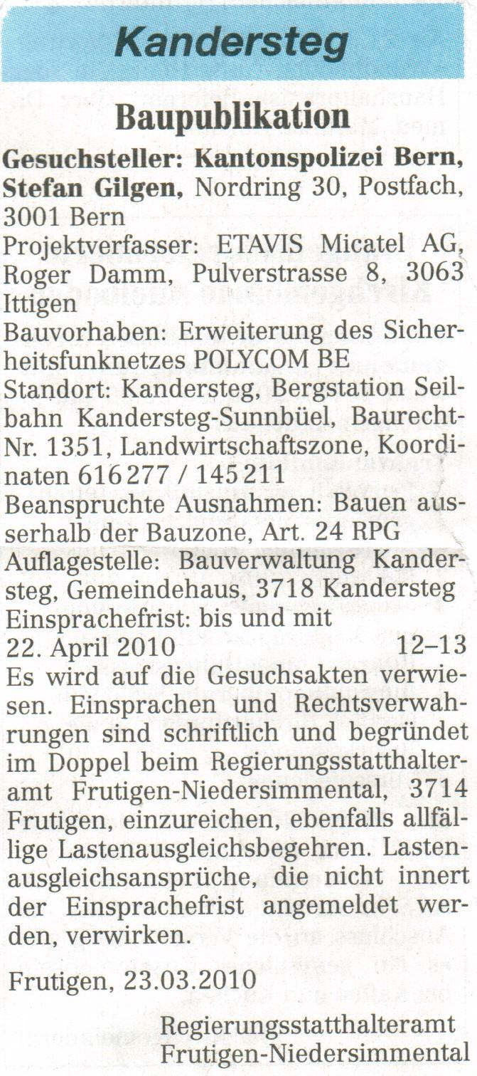 Baupuplikation Kandersteg von 2010