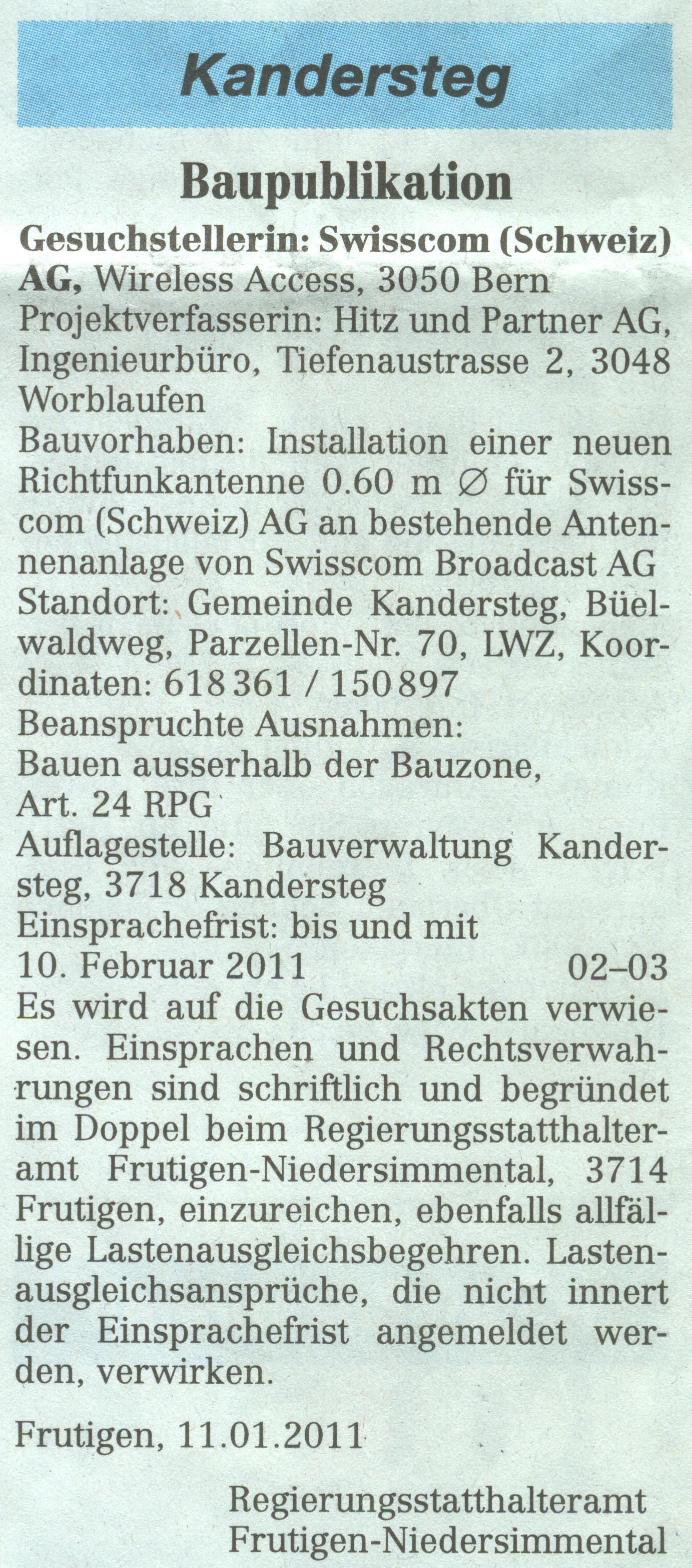 Baupuplikation Kandersteg von 2011