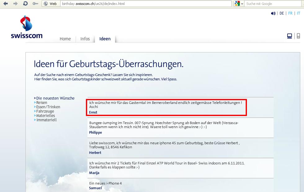 Mein Geburtstagswunsch an Swisscom vom 5.10.2011