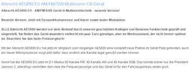 Anpassungen der neuen Albrecht AE 5890 EU gefunden bei Neuner Funk