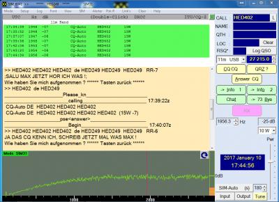 Erstes QSO zwischen HED402 und HED249 per SIM31 am 10.02.2017 um 18:45