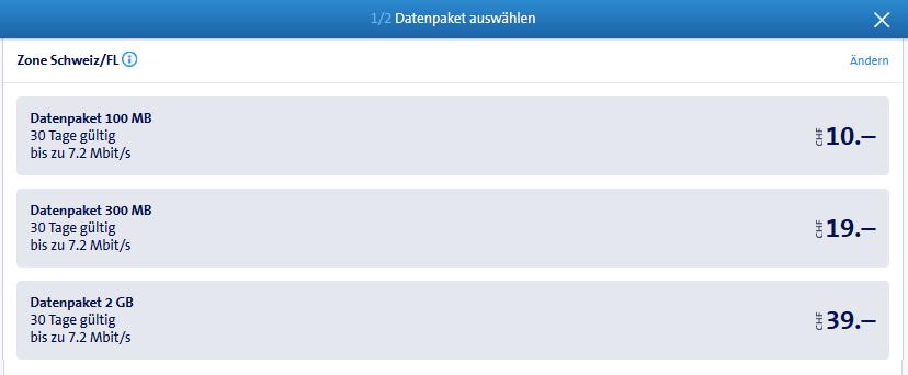 Auswahl der möglichen buchbaren Datenpackete am 01.11.2016