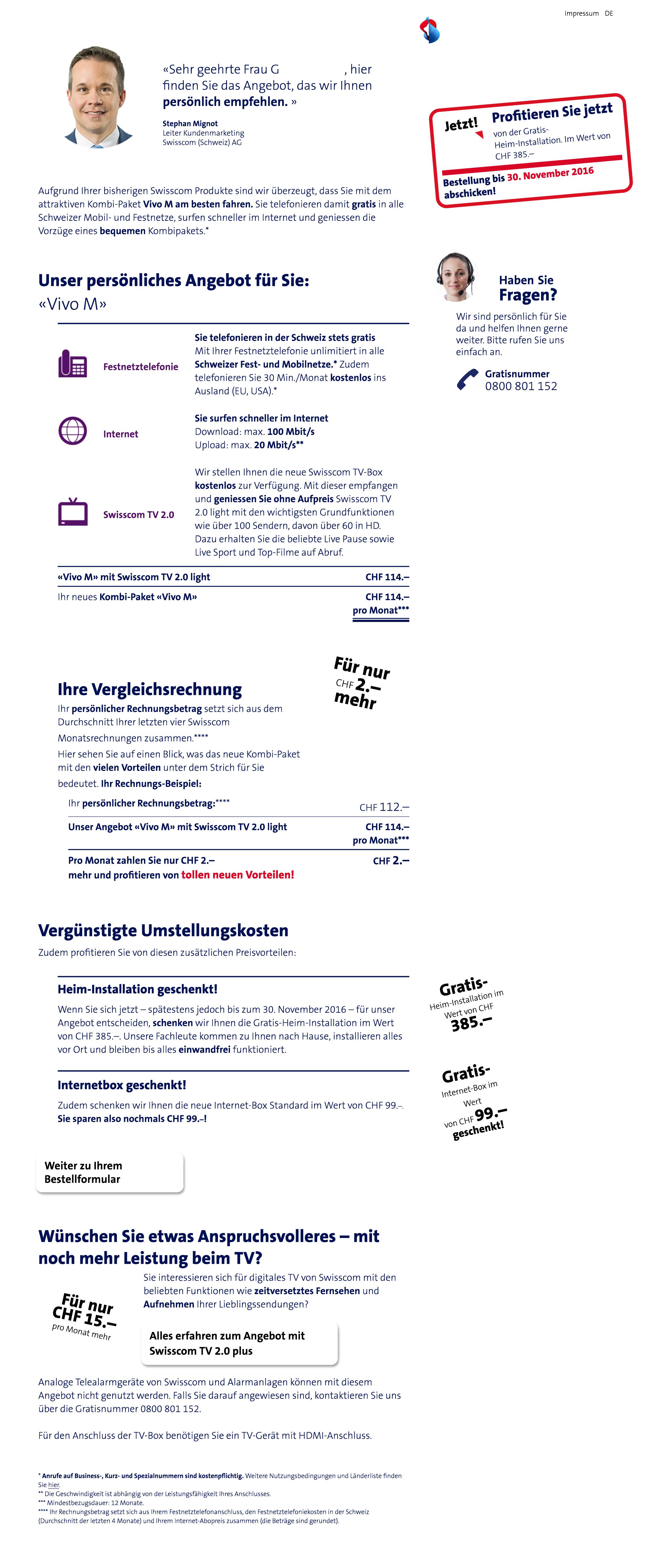 Unser Angebot auf der für uns entwickelten Webseite zur Ablösung von ISDN
