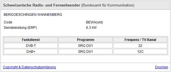 Informationen zum DAB+ Sender vom Wannenberg in Deutschland am 02.12.2016