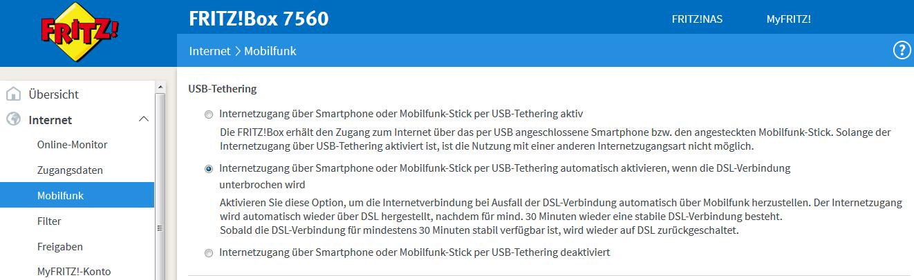 Einstellungen bei der FritzBox 7560 für Mobilfunk