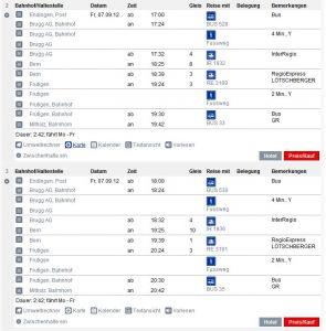 SBB Fahrplan vom 07.09.2012