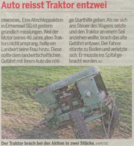 Traktor beim Abschleppen entzwei