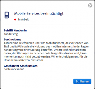 Störungs-Details auf dem Swisscom Natelnetz in Kandersteg seit 13.10.2014 um kurz nach Mittag