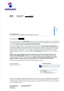 Brief von Swisscom zur 'DSL Infinity' ablösung
