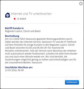 Wartungsarbeiten (Detail) von der Swisscom am 15.03.2016 auch in Baldingen (Kanton Aargau)