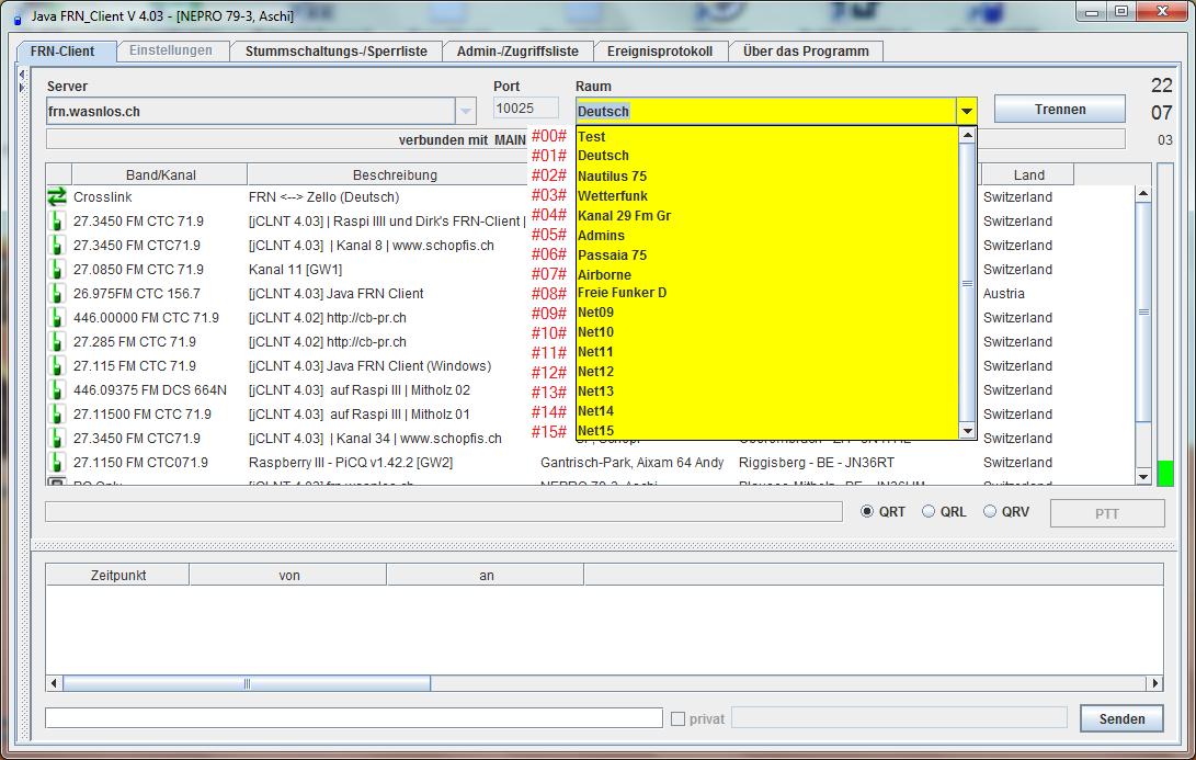 Räume auf dem FRN-Server frn.wasnlos.ch und ihre DTMF Codes