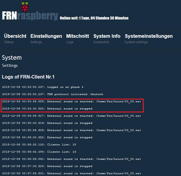 FRN-Client-Log wie es aussehen sollte, wenn die .wav OK sind