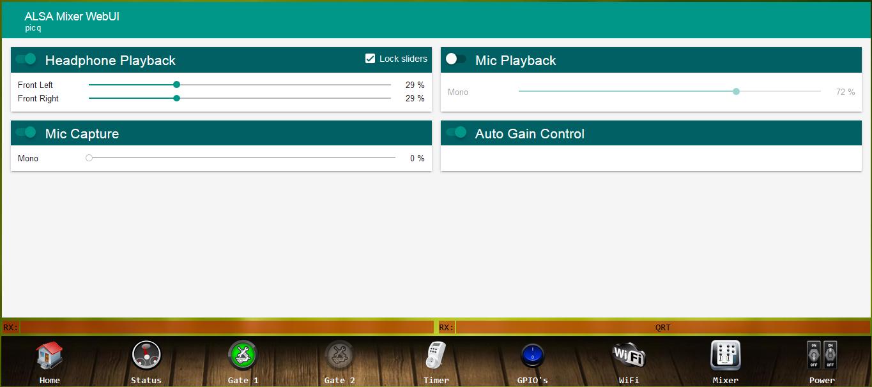 ALSA-Mixer nach den angegeben Änderungen und nach Neustart