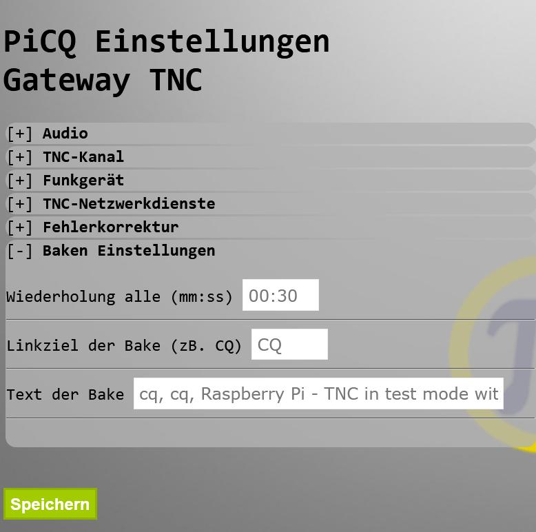 PiCQ V1.29 TNC Baken Einstellungen