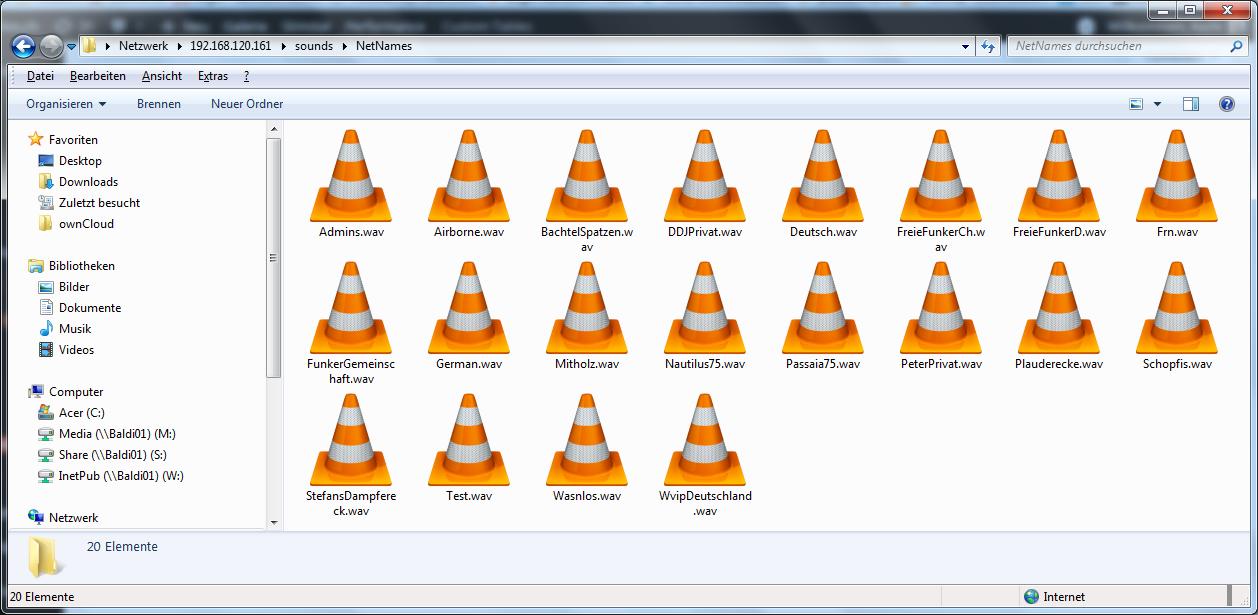 ... und darin die WAV-Dateien analog zum FRN-Clienten auf Windows
