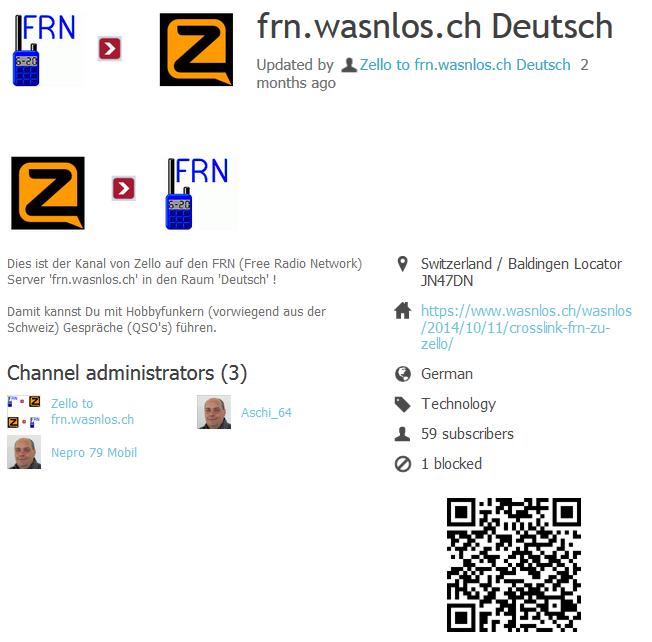 Zello-Kanal 'frn.wasnlos.ch Deutsch'