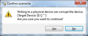 Disk Imager Sicherheitsabfrage nach dem Klick auf 'Write'