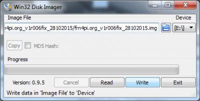 Im Disk Imager die .img Datei und das richtige SD-Laufwerk auswählen