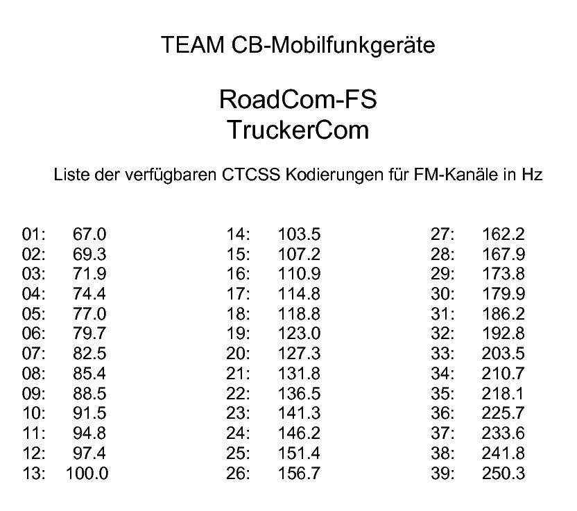 CTCSS Codes für die CB Funkgeräte Team TruckerCom und RoadCom
