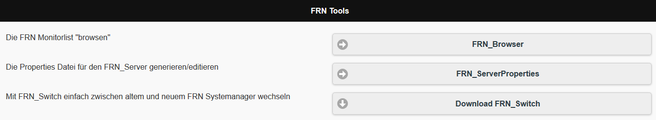 WEB-Seite mit den angebotenen Tools für die neue FRN-Welt
