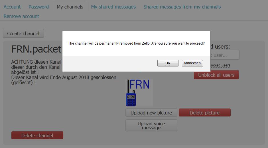 Alter Zellokanal 'FRN.packet' wird gelöscht