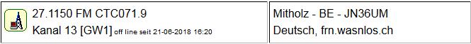CB Gateway Mitholz seit 21.06.2018  um 16:20 Uhr Offline
