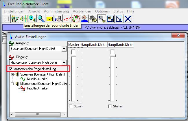 FRN Client Automatische Pegeleinstellung