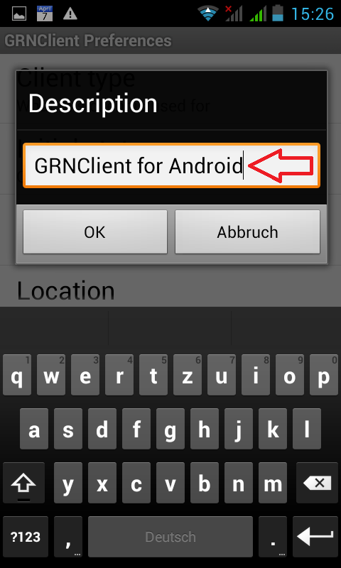 In den GRNClient for Android Description Einstellungen muss 'GRNClient for Android' stehen