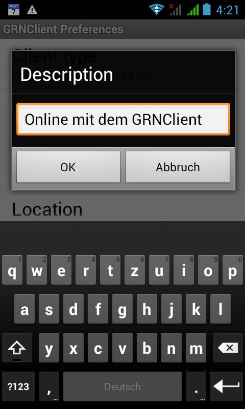 In den GRNClient for Android Description Einstellungen muss nun nur noch 'GRNClient zu finden sein