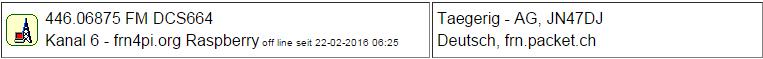 Gateway Tägerig seit 22.02.2016 Offline