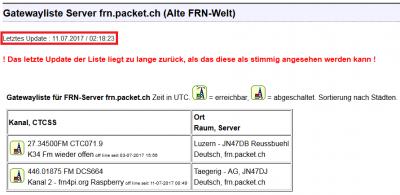 Letztes Update der GatewayList.xml vom SystemManager auf 'alter FRN-Welt' am 11.07.2017