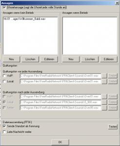 FRN-Client Gateway Ansagen Einstellungen