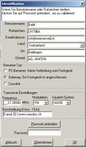 FRN-Client Benutzerdaten für Gateway
