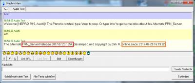 und man erhält Infos über die Revision des laufenden Servers, und seit wann dieser gestartet ist !
