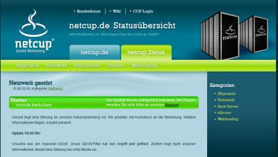 NETCUP Statusmeldung vom 10.08.2018 um ca. 11 Uhr