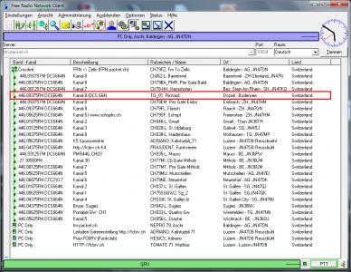 PMR Gateway Dozwil auf Kanal 8 mit DCS664N
