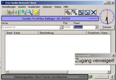 'Zugang verweigert' im Raum 'Deutsch' für den Crosslink vom Original-FRN auf das Alternate-FRN