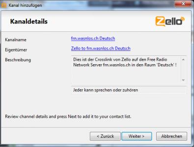 Zello Kanaldetails von 'frn.wasnlos.ch Deutsch'