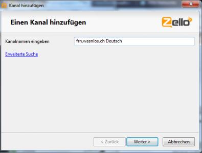 Zello Kanal 'frn.wasnlos.ch Deutsch' zur eigenen Kontaktliste hinzufügen