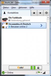 Zello Kanal 'frn.wasnlos.ch Deutsch' zur Kontaktliste hinzugefügt