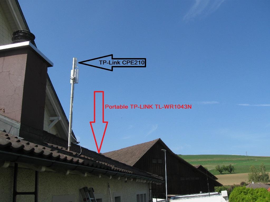 Der WLan Mast auf dem Dach des Seitenanbaus (mit Freifunk)