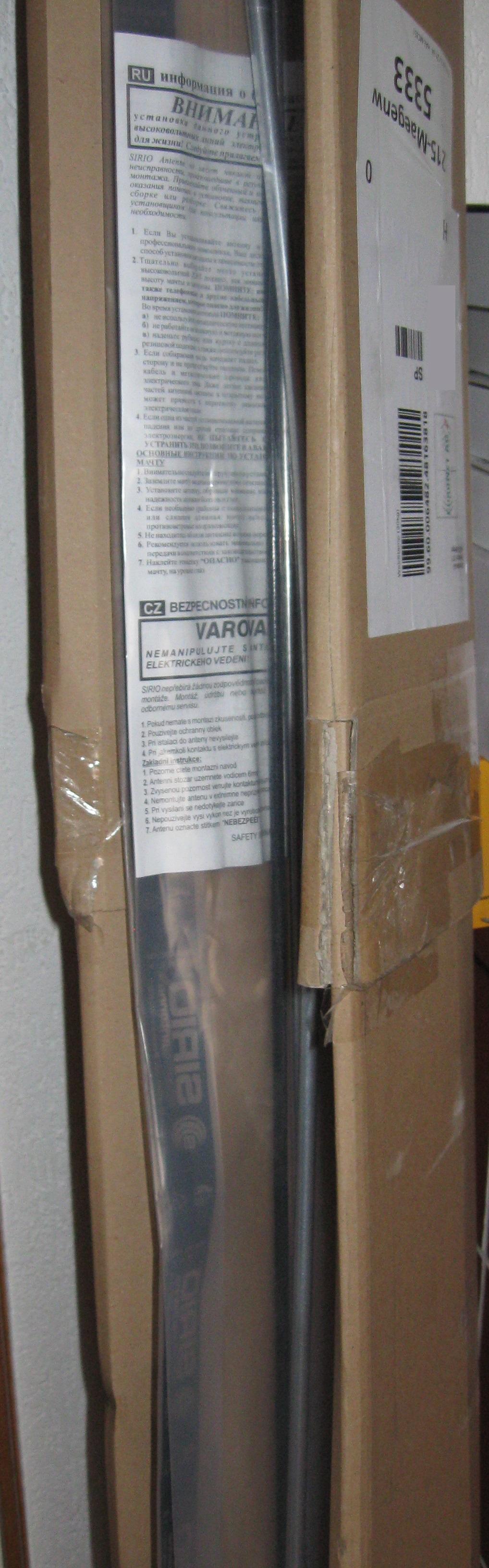 Das Originalpacket mit dem verkrümmten Strahler der Boomerang-Antenne