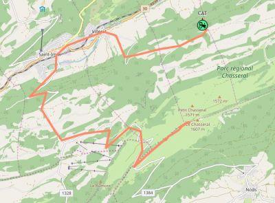 Karte der Fahrtroute vom 'Graffenrieder' auf den Chasseral