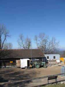 Mobiler Funkshack bei der Baustelle Hochwacht auf der Lägere