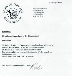 Einladung zum Infoabend des Imkerkurses 2005/2006